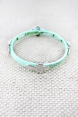 Mint and Hammered Silvertone Cross Charm Stretch Bracelet