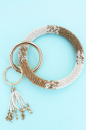 Keep Moving On Ivory Seed Bead Tassel Bangle Keychain