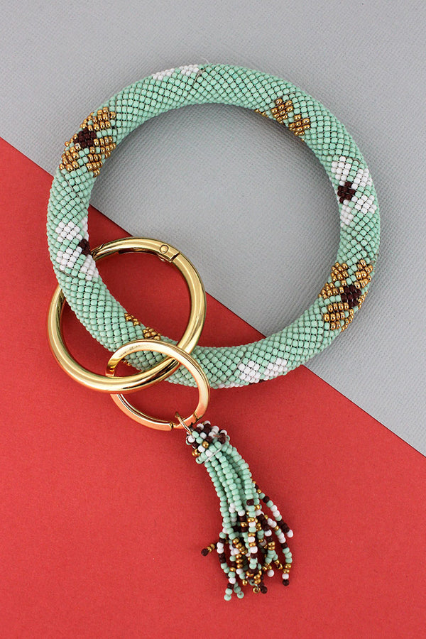 Summer Flowers Mint Seed Bead Tassel Bangle Keychain