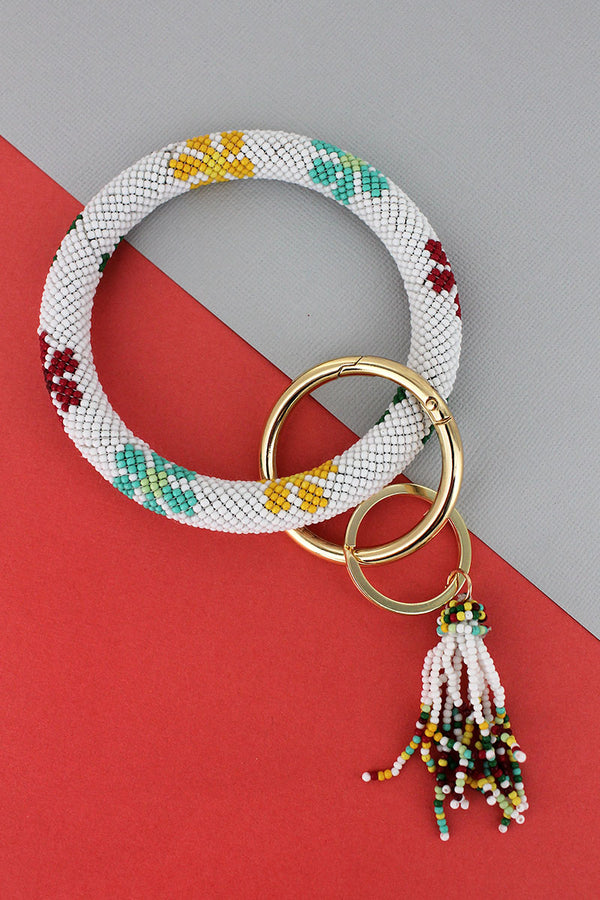 Summer Flowers White Seed Bead Tassel Bangle Keychain