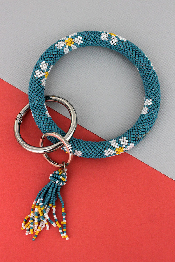 Summer Flowers Blue Seed Bead Tassel Bangle Keychain