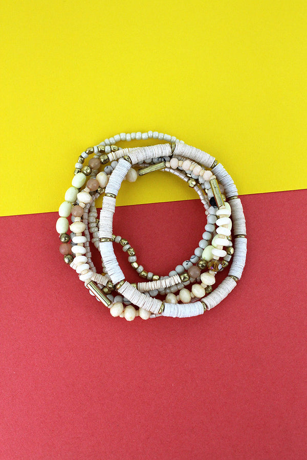 Ivory Sequin Disk and Seed Bead Bracelet Set