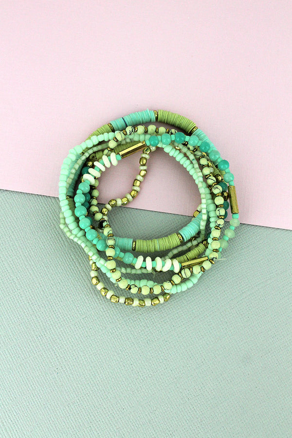 Mint Sequin Disk and Seed Bead Bracelet Set