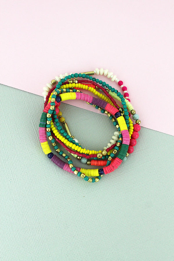 Multi-Color Sequin Disk and Seed Bead Bracelet Set