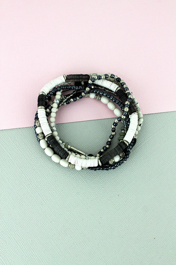 Black Monochrome Sequin Disk and Seed Bead Bracelet Set