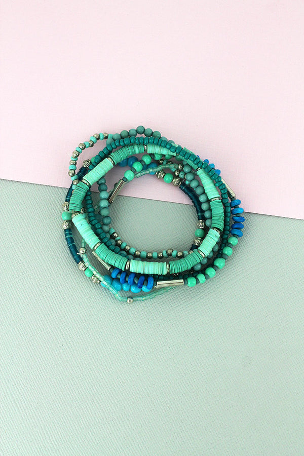 Turquoise Sequin Disk and Seed Bead Bracelet Set