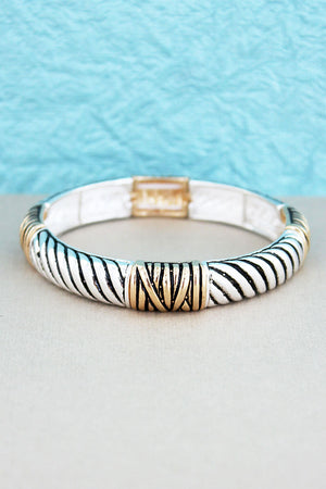 Two-Tone Rope Textured Stretch Bracelet