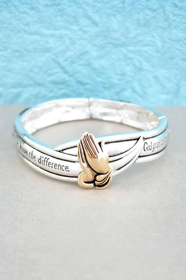 Two-Tone Praying Hands 'Serenity Prayer' Stretch Bracelet