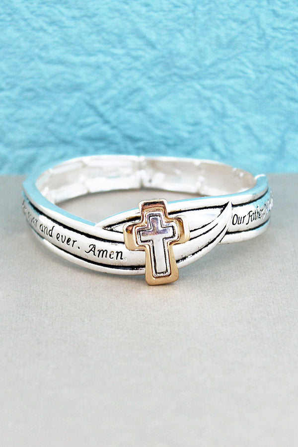 Two-Tone Cross 'Lord's Prayer' Stretch Bracelet