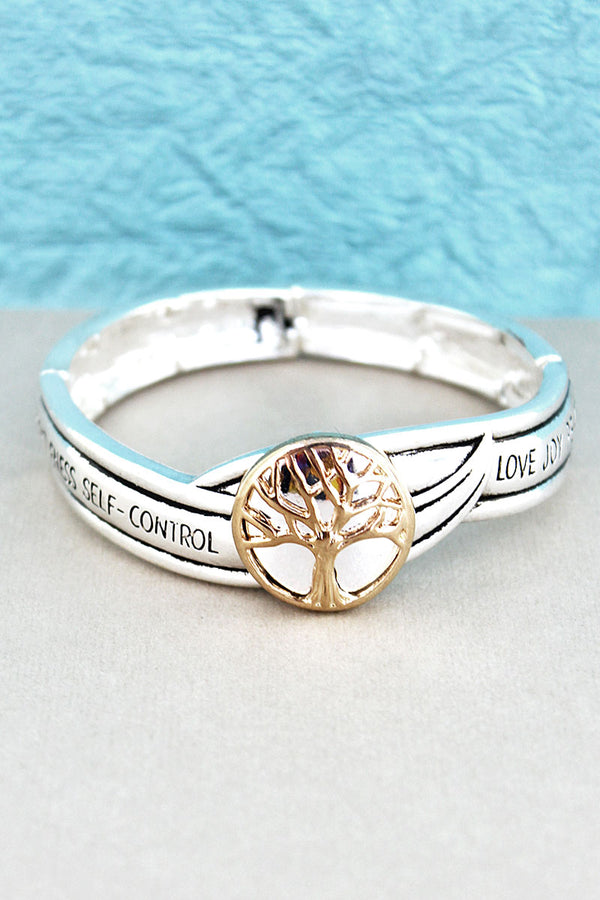 Two-Tone Tree Of Life Fruit of the Spirit Stretch Bracelet