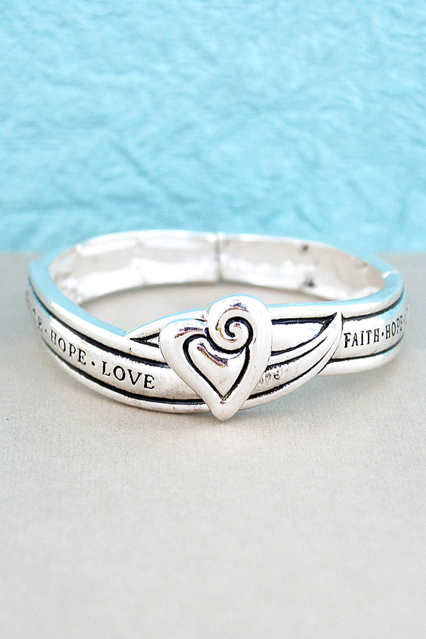 Silvertone Heart 'Faith Hope Love' Stretch Bracelet