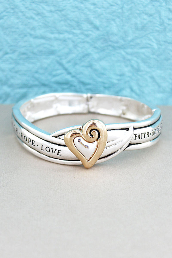 Two-Tone Heart 'Faith Hope Love' Stretch Bracelet