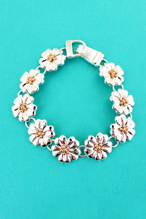 Two-Tone Flower Magnetic Bracelet