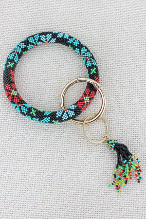 Summer Blossom Seed Bead Tassel Bangle Keychain