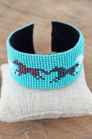 Horse Turquoise Seed Bead Cuff Bracelet