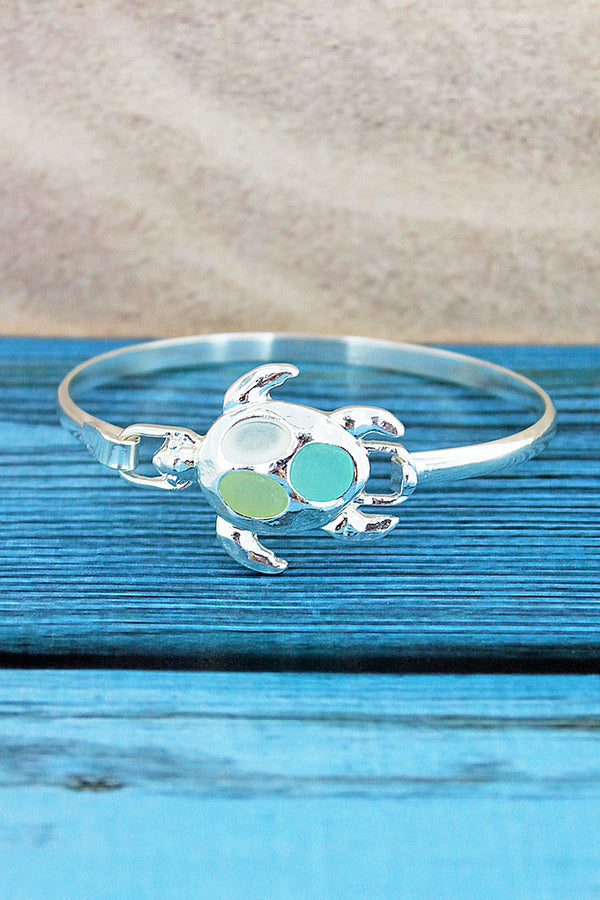 Turquoise Tri-Color Sea Glass Turtle Silvertone Bangle