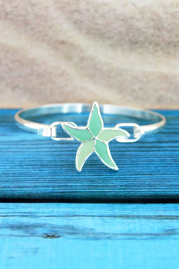 Turquoise and Pale Yellow Sea Glass Starfish Silvertone Bangle