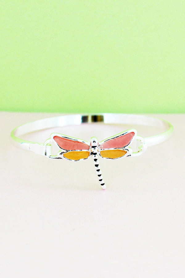 Pink and Orange Sea Glass Dragonfly Silvertone Bangle