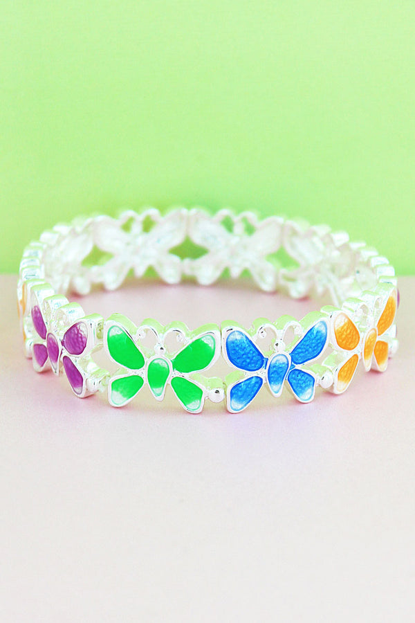 Silvertone and Multi-Color Epoxy Butterfly Bracelet
