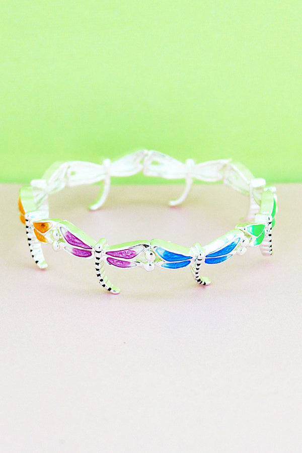 Silvertone and Multi-Color Epoxy Dragonfly Bracelet