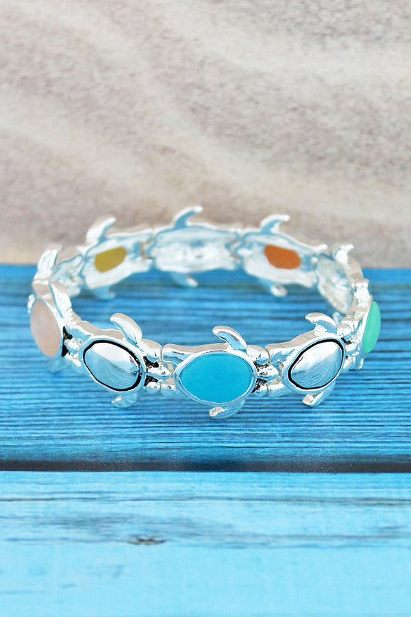 Silvertone and Multi-Color Sea Glass Turtle Bracelet