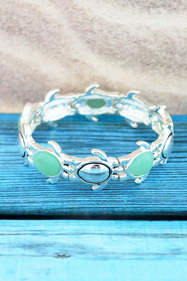 Silvertone and Turquoise Sea Glass Turtle Bracelet