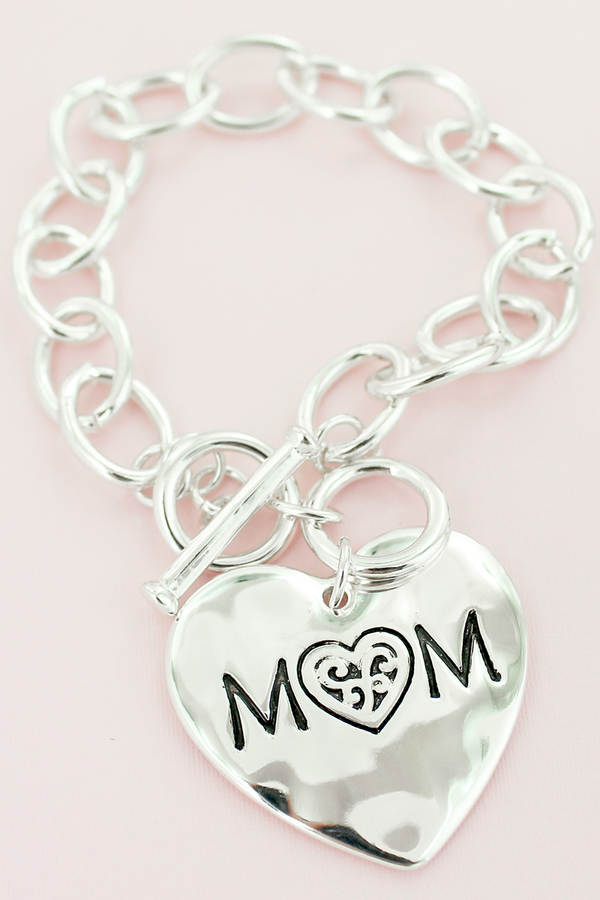 Silvertone Mom Double-Sided Heart Toggle Bracelet