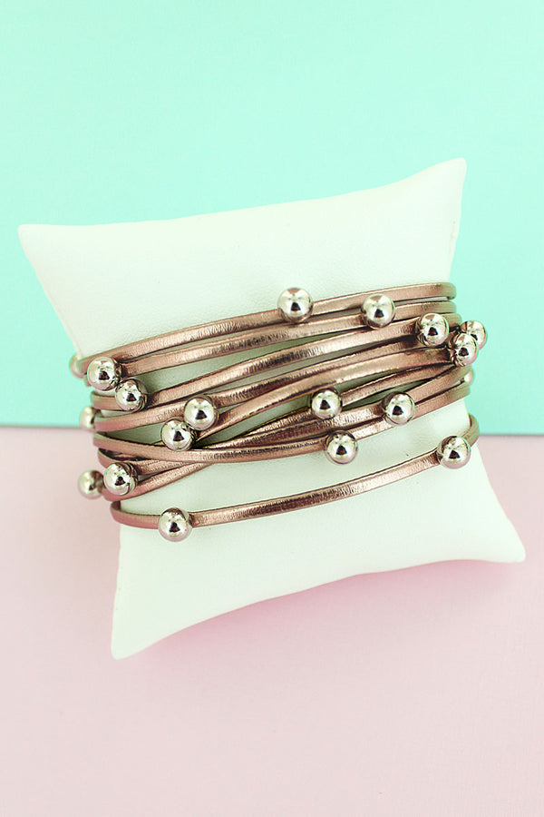 Silvertone Beaded Metallic Rose Gold Faux Leather Multi-Strand Magnetic Bracelet