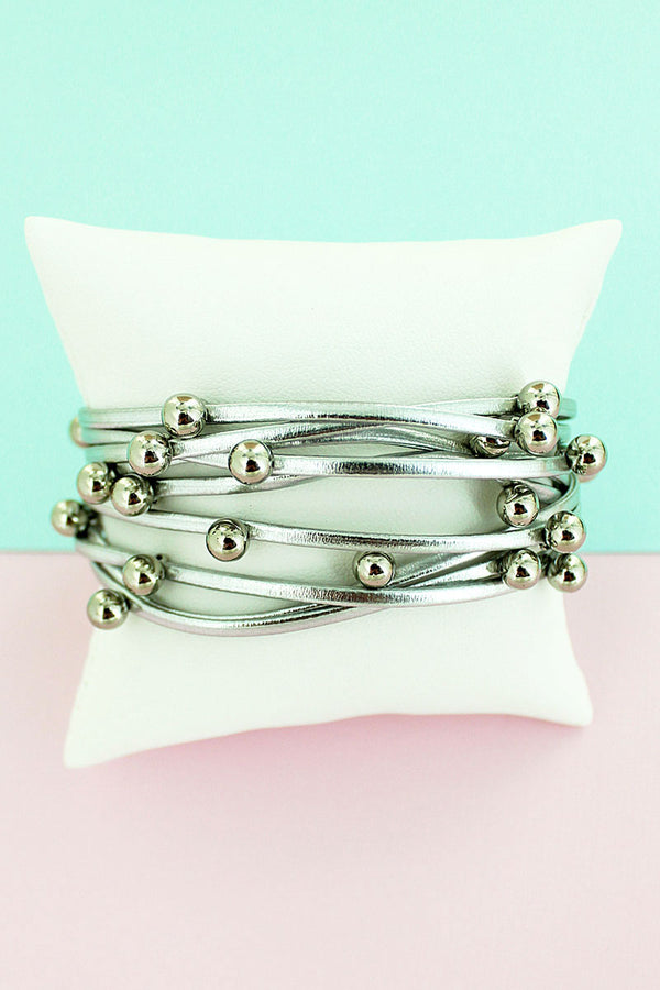 Silvertone Beaded Metallic Silver Faux Leather Multi-Strand Magnetic Bracelet