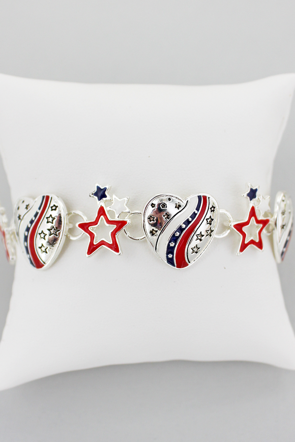 Stars & Stripes Heart Magnetic Bracelet