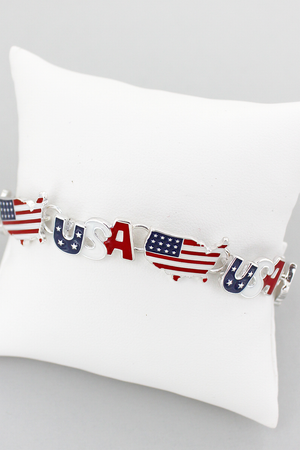 USA Flag Map Magnetic Bracelet