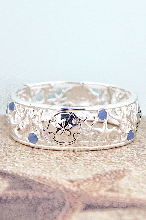 Blue Sea Glass and Silvertone Sand Dollar Stretch Bracelet