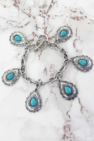 Turquoise and Silvertone Teardrop Toggle Bracelet