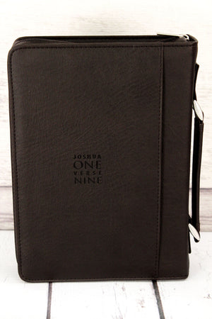 Joshua 1:9 'Strong & Courageous' LuxLeather Large Bible Cover