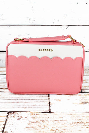 Blessed Pink Scalloped LuxLeather Large Bible Cover