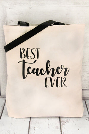 Best Teacher Ever Canvas Tote with Contrasting Handles #BE010