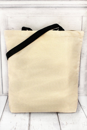 Best Teacher Ever Canvas Tote with Contrasting Handles