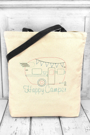 Happy Camper Canvas Tote with Contrasting Handles #BE010