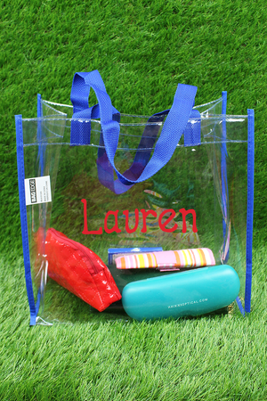 BAGedge Clear Vinyl Tote with Royal Trim