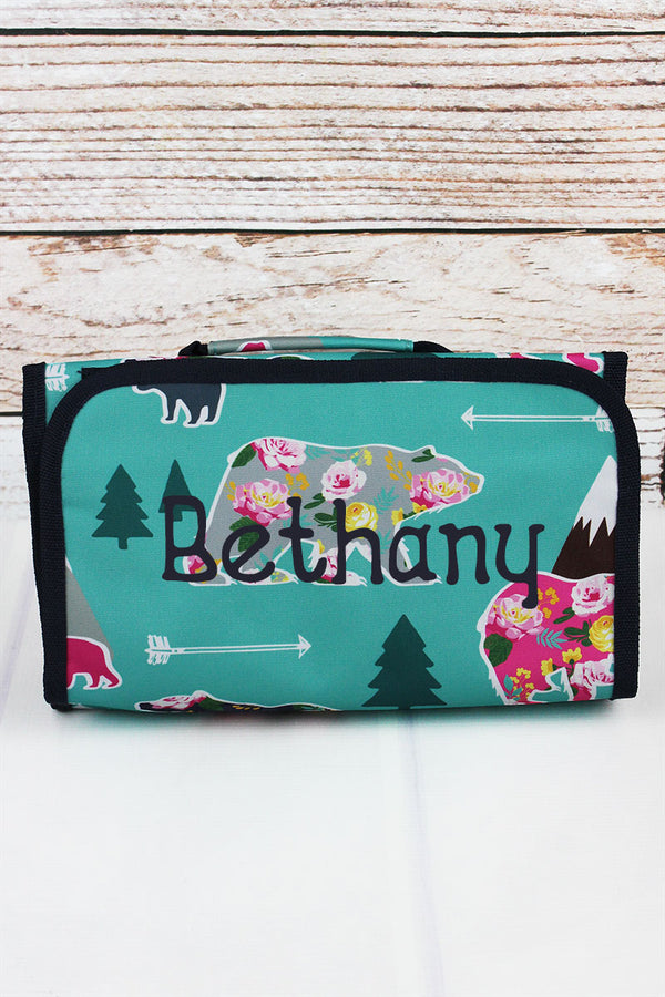 Bear Beauty Roll Up Cosmetic Bag