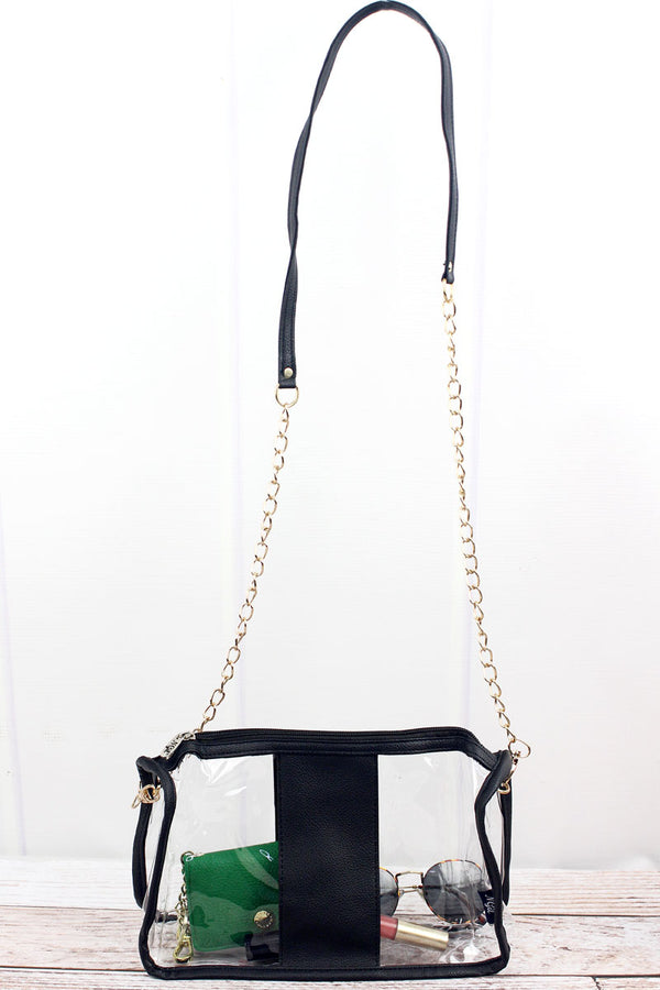 Clear Stadium Bag with Black Faux Leather Trim