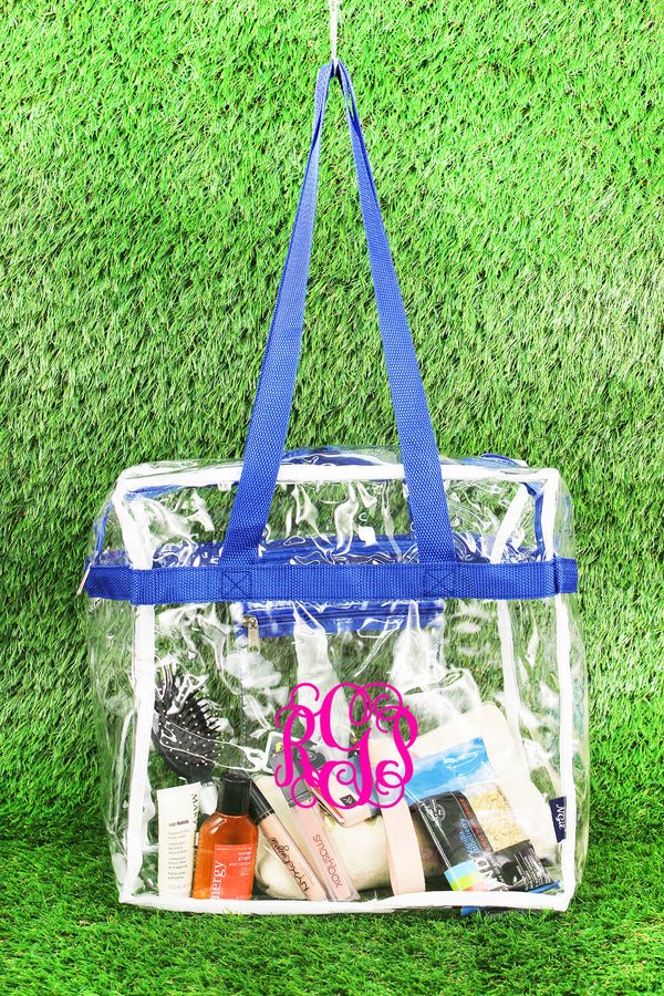 Clear Stadium Tote Bag with Royal Trim