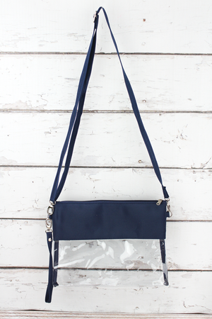 Clear Crossbody Bag with Navy Trim