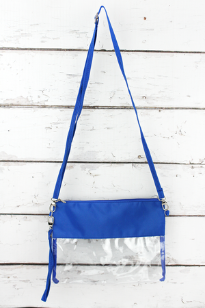 Clear Crossbody Bag with Royal Trim