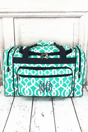 "Mint Trellis Duffle Bag with Navy Trim 20"" #BIQ420-MINT"