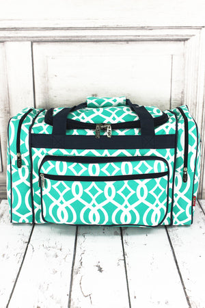 Mint Trellis Duffle Bag with Navy Trim 20""