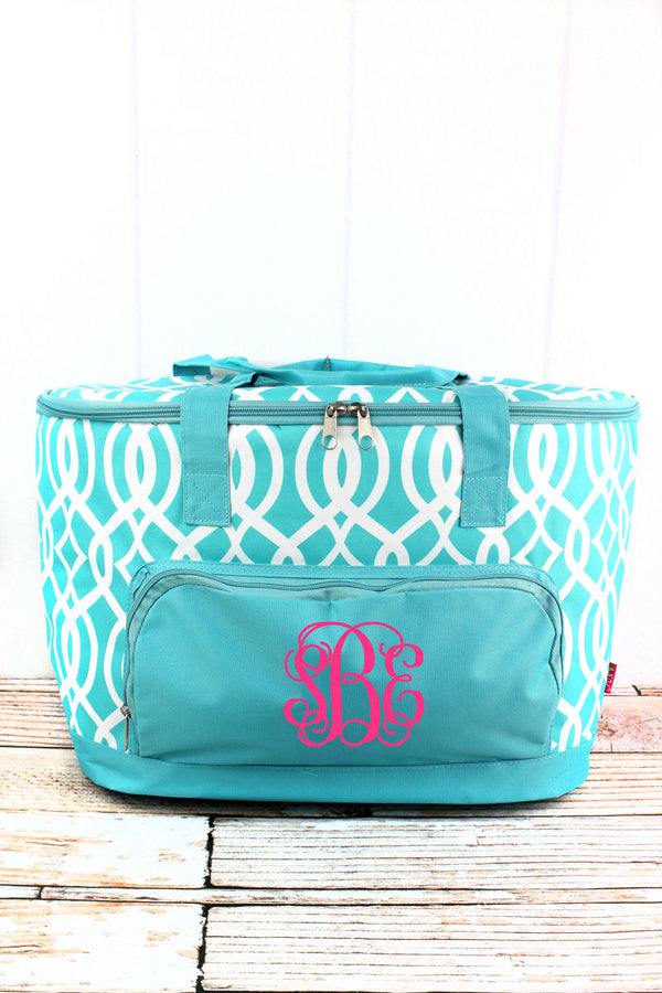 Aqua Trellis Cooler Tote with Lid