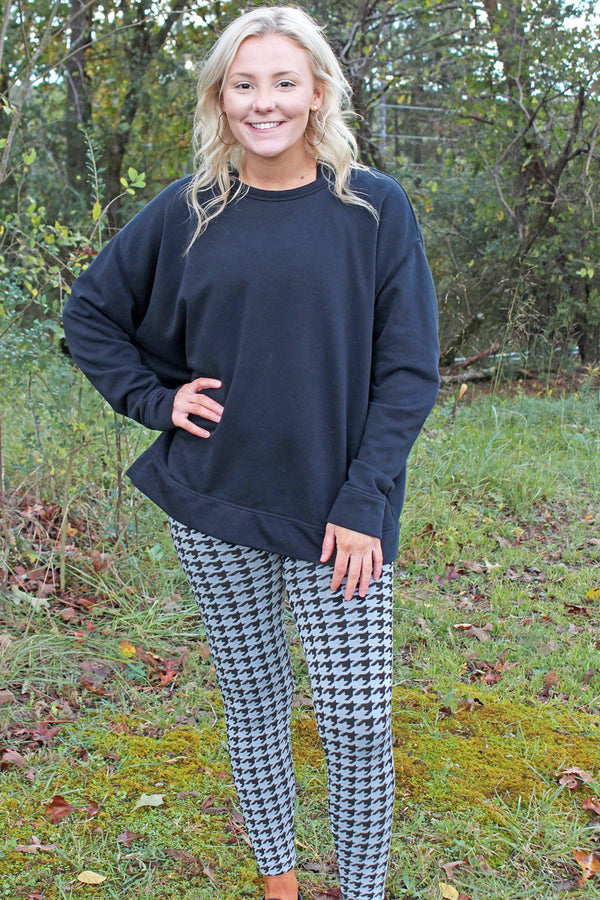 Black Houndstooth Fleece Lined Leggings