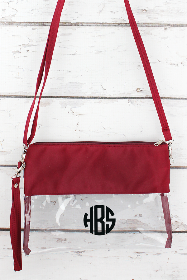 Clear Crossbody Bag with Burgundy Trim