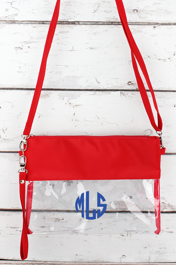 Clear Crossbody Bag with Red Trim